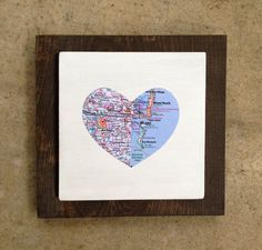 Long Distance Valentine's Gift Custom Map Wooden Wall Hanging  Valentine's Day by WhereverILodge, $24.00
