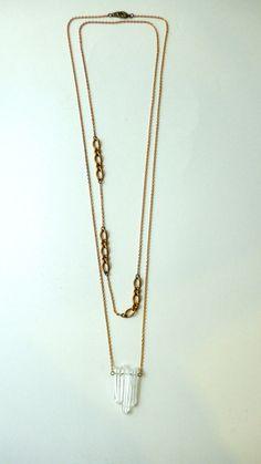 Triple quartz cluster on vintage brass chain by Nobletown Vintage