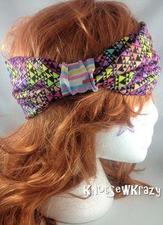 Turban Fabric Headband  Rainbow Abstract Triangles by KnotSewKrazy, $14.99