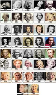 The evolution from Norma Jeane to Marilyn Monroe - Photos from her childhood through her final year in 1962.