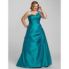 Plus Size Ball Gown A-line One Shoulder Taffeta Evening Dress – USD $ 179.99 - they make it in white and ivory!!  i LOVE this color though!