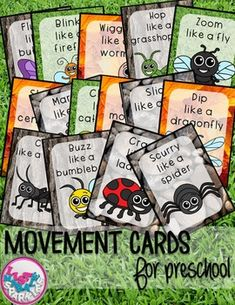 Bugs and Insects Movement Cards for Preschool. by Lisa Markle Sparkles Clipart and Preschool Fun Insect Activities, Movement Activities, Gross Motor Activities, Gross Motor Skills, Movement Preschool, Physical Activities, Preschool Music, Preschool Science, Preschool Activities