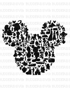 Character Filled Mickey Mouse Head SVG Disney Cut File