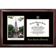Texas Christian University 8.5 inch x 11 inch Gold Embossed Diploma Frame with Campus Images Lithograph