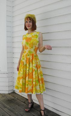 Vintage 50s Yellow Dress by H Bar C by soulrust, $79.99
