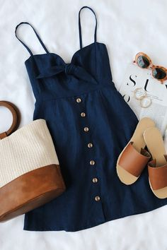Spring outfits for ideas and scholl and korean. Spring Fashion Rodeo Navy Blue Tie-Front Dress Source by Mode Outfits, Casual Outfits, Navy Blue Outfits, Casual Lunch Outfit, Lunch Date Outfit, Hot Day Outfit, Spring Outfits Women Casual, Stylish Summer Outfits, Skater Outfits