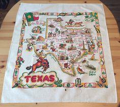 Vintage Tablecloth Texas State Souvenir Cowboys by unclebunkstrunk