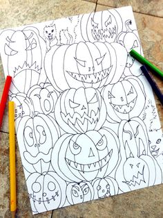 Halloween Coloring Pages October Fall By Colorblinddragon