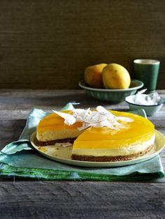 Mascarpone and coconut cake with mango jelly - Australian Gourmet Traveler & # s Dessert rec Cheesecakes, Cakepops, Mango Jelly, Coconut Biscuits, Mango Recipes, Sweet Recipes, Christmas Desserts, Summer Desserts, Let Them Eat Cake