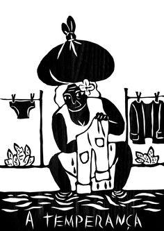 A Temperança- Tolerância, paciência, praticidade, aceitação dos acontecimentos na figura da Lavadeira do rio, (a história das lavadeiras começou por volta dos anos 60, quando donas de casa e suas filhas lavavam as roupas no rio, ou buscassem água para lavá-las em casa. Ao lavarem as suas vestimentas no rio, as mulheres da cidade se inspiravam nos canoeiros que passavam pela região e cantavam para entrar em sintonia no ritmo das remadas).