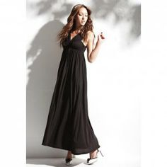 $20.99 Sophisticated Bowknot Embellished Plunging Neck Long Dress For Women