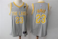 e3a38cdfdc5 Nike NBA Cleveland Cavaliers  23 LeBron James Jersey 2017 18 New Season City  Edition Grey