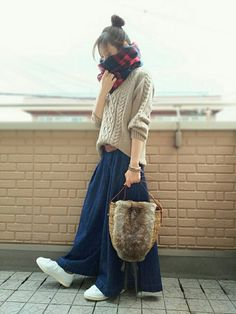 k(ani)さんのコーディネート Curvy Outfits, Outfits For Teens, Stylish Outfits, Japan Fashion, Daily Fashion, Love Fashion, Maxi Styles, Cold Weather Fashion, Winter Fashion