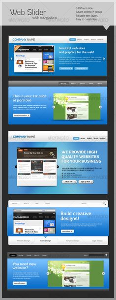 website slider with navigation's Font used: Myriad Pro – Diavlo –  http://startupstacks.com/web-elements/website-slider-navigations.html. - free download