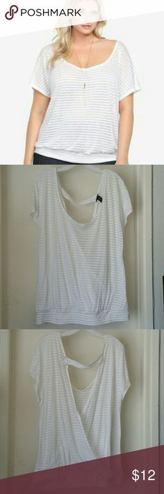 Torrid Sheer Open Back Dolman Blouse  SZ 2 Real cute & very lightweight Torrid Sheer Open back dolman blouse. Has a very unique envelope open back, please see pics to see how nice the open back is. It is white with white stripes and it is a sheer material. Pre loved and worn several times so it does show typical wear on it. Too big for me .. price reflects condition. torrid Tops Blouses