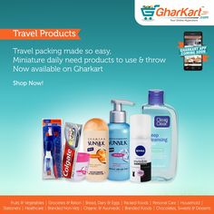 Shop all your travel needs online now, mini packs of toiletries now available at http://www.gharkart.com/ #Gharkart #Onlineshopping #Groceries #homeneeds #onlinegrocery #hyperstore #hypermarket