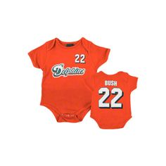 Miami Dolphins Newborn Orange Reebok Reggie Bush Name & Number Creeper found on Polyvore