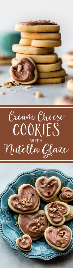 Extremely soft and thick sugar cookies made with cream cheese and almond extract and topped with creamy Nutella glaze! Recipe on sallysbakingaddiction.com