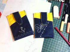 Felt phone pockets with embroidery