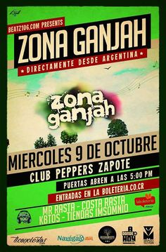 Zona Ganjah en Costa Rica http://adondeirhoy.com/conciertos-en-costa-rica/zona-ganjah-en-costa-rica