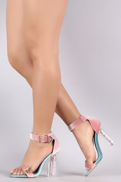 Buckle Crushed Velvet Tribal Chunky Clear Lucite Heel