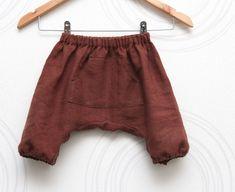 Linen toddler harem shorts, kids sarouel, bloomers in chocolate brown // Size US 1-6 (EU 80-116)