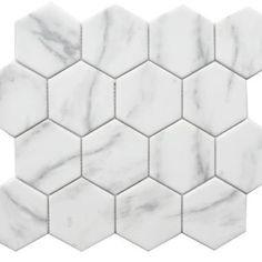 Carrara Hexagon Glass Mosaic (EGCARRHEX) Pebble Mosaic, Mosaic Glass, Gray Kitchen Backsplash, Backsplash Ideas, Tiles Online, Italian Marble, Grey Tiles, Mosaic Garden, Commercial Flooring