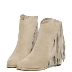Beige Suedette Fringe Point Heeled Ankle Boots ($65) ❤ liked on Polyvore featuring shoes, boots, ankle booties, fringe ankle bootie, ankle boots, pointed booties, bootie boots and faux boots