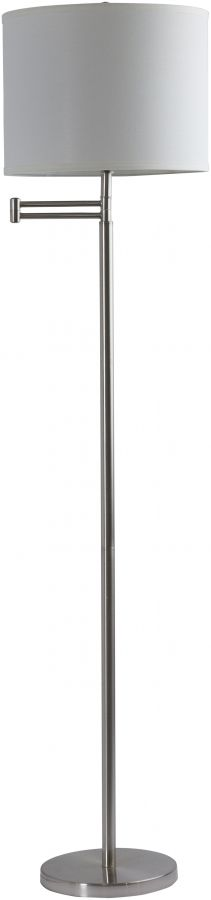Finn Brushed Nickel Ivory Metal Fabric Floor Lamp (W 15 X H 59)