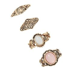 Forever 21 Etched Faux Stone Ring Set ($6.90) ❤ liked on Polyvore featuring jewelry, rings, imitation jewelry, stone rings, artificial jewelry, imitation jewellery and set rings