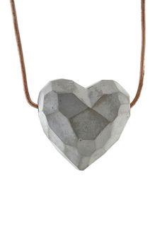 Heartshaped geometric/ faceted concrete pendant  by cumbucachic, $30.00