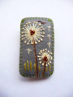 Rectangle Shape Dandelion inspired handmade felt brooch - Dark Grey