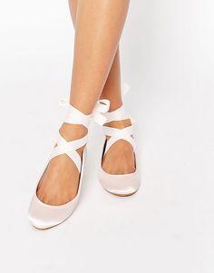 Image 1 ofASOS LYDIA Ribbon Ballet Flats