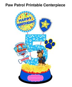 PAW PATROL Printable Centerpiece. Bow Wow guests with this easy 6-piece printable centerpiece set. Great for party decorations and photo booth props too!
