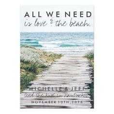 Destination Wedding Reception Cards Nantucket Beach Eloped Wedding Announcement