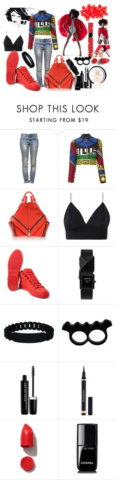 """""""Blood Noon...."""" by bettyboopbbw69 ❤ liked on Polyvore featuring Anine Bing, Versace, MAC Cosmetics, Diesel, Balenciaga, Karl Lagerfeld, Marc by Marc Jacobs, Marc Jacobs, Yves Saint Laurent and NARS Cosmetics"""