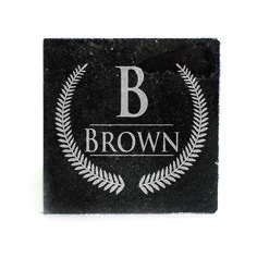 Black Granite Coasters (set of 4) - Leaf Design with Monogram personalized with name