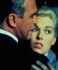 "James Stewart y Kim Novak en ""Vértigo"" (Vertigo), 1958"