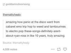 These songs definitely aren't about Ryan Ross