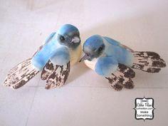 LOVE birds  Sky Blue  set of 2 mushroom birds by cathiefilian, $5.00