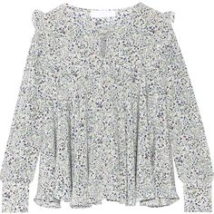 Co Ruffled floral-print silk crepe de chine blouse (2,695 SAR) ❤ liked on Polyvore featuring tops, blouses, white floral blouse, white loose blouse, silk blouse, floral blouse and floral tops