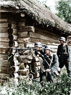 German MG34 gun crew in action on the Eastern Front. Credit to Mike Gepp for the colorization. In my opinion, he is the best I've seen at colorizing World War II photographs.( original caption)