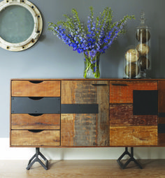 Shop Our Rustic Reclaimed Wood Bina Gonzo Console-Credenza on Sale. An eye-catching Reclaimed Wood Patchwork Console floats over three Y-shaped, distressed iron legs Timber Furniture, Reclaimed Furniture, Upcycled Furniture, Industrial Furniture, Vintage Furniture, Painted Furniture, Diy Furniture, Furniture Design, Refinished Furniture