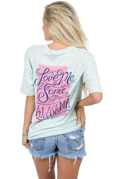 Love Me Some Alabama! Show your state pride with this adorable tee, available in three spring colors! Oversized unisex fit. Models are wearing MEDIUMS! Features - 100% combed cotton construction - Lau