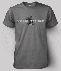 New pic of our ENDURING FREEDOM VETERAN t-shirt (grey). Cost: $19.99.  http://devildoggraphix.bigcartel.com/product/enduring-freedom-veteran-t-shirt