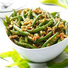 Buttery Almond Green Beans Recipe -Toasted almonds add crunch to this no-fuss treatment for fresh beans. They get extra flavor from convenient onion soup mix and Parmesan cheese. —Edna Hoffman, Hebron, Indiana