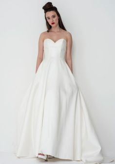 Exude bridal chic in this amazing Nina wedding gown by Freda Bennet. Add wedding accessories like a statement veil or bridal belt to make it totally unique! Oh and did I mention she has pockets? Flattering Wedding Dress, Wedding Dress Shapes, Simple Wedding Gowns, Wedding Dress With Pockets, One Shoulder Wedding Dress, English Wedding Dresses, Princess Wedding Dresses, Gown Style Dress, Dress Styles