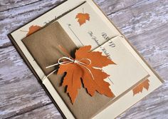Wedding stationery for autumn. Leaf, brown and orange colors. Wedding in autumn cosy and romantic!