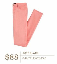 Stitch Fix May 2016 - Just Black Adorra Skinny Jean $88 coral pink colored jeans