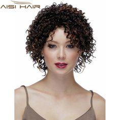 """10 """"安いショート変態カーリーブラウンかつらアフリカ系アメリカ人かつら黒人女性散髪合成ハイライトナチュラルかつらアフロウィッグ"""